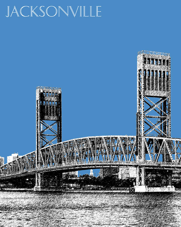 Jacksonville Skyline 2  Main Street Bridge - Slate Blue Digital Art