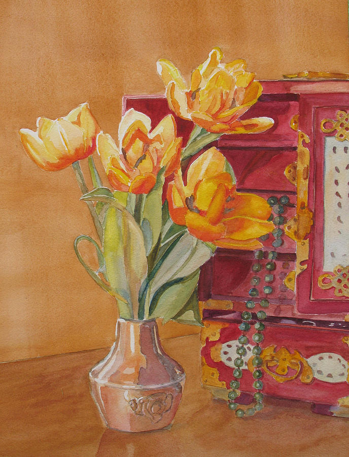 Jade And Tulips Painting  - Jade And Tulips Fine Art Print
