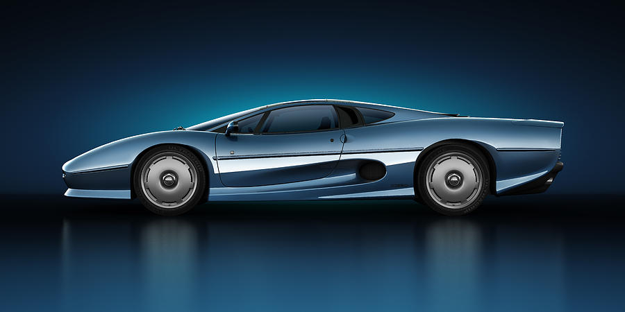 Jaguar Xj220 - Azure Digital Art  - Jaguar Xj220 - Azure Fine Art Print