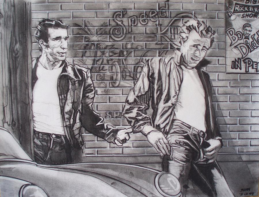 James Dean Meets The Fonz Drawing  - James Dean Meets The Fonz Fine Art Print