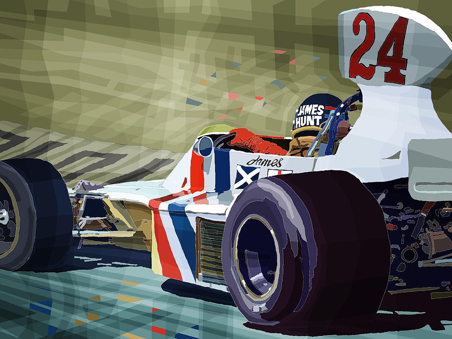 James Hunt 1975 Hesketh 308b Drawing  - James Hunt 1975 Hesketh 308b Fine Art Print
