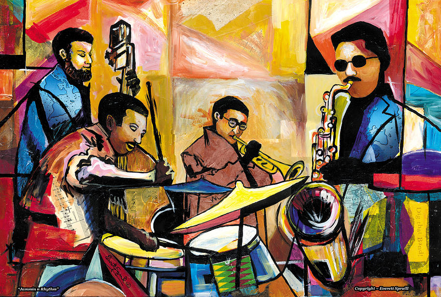 Jazz Painting - Jammin N Rhythm by Everett Spruill