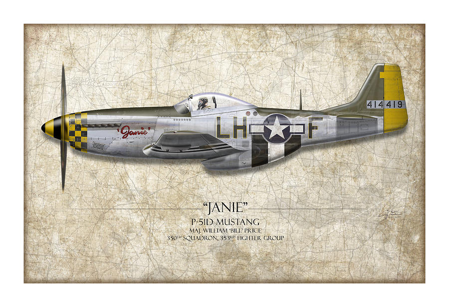 Janie P-51d Mustang - Map Background Painting