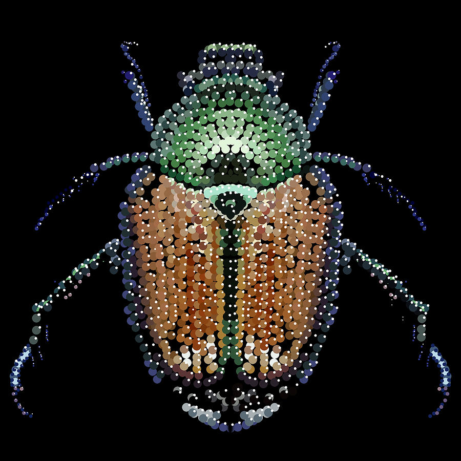 Japanese Beetle Bedazzled Digital Art