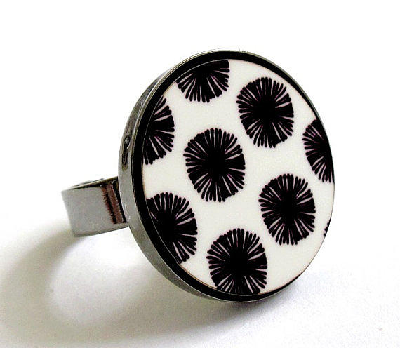 Japanese Flowers In Black And White Ring Jewelry