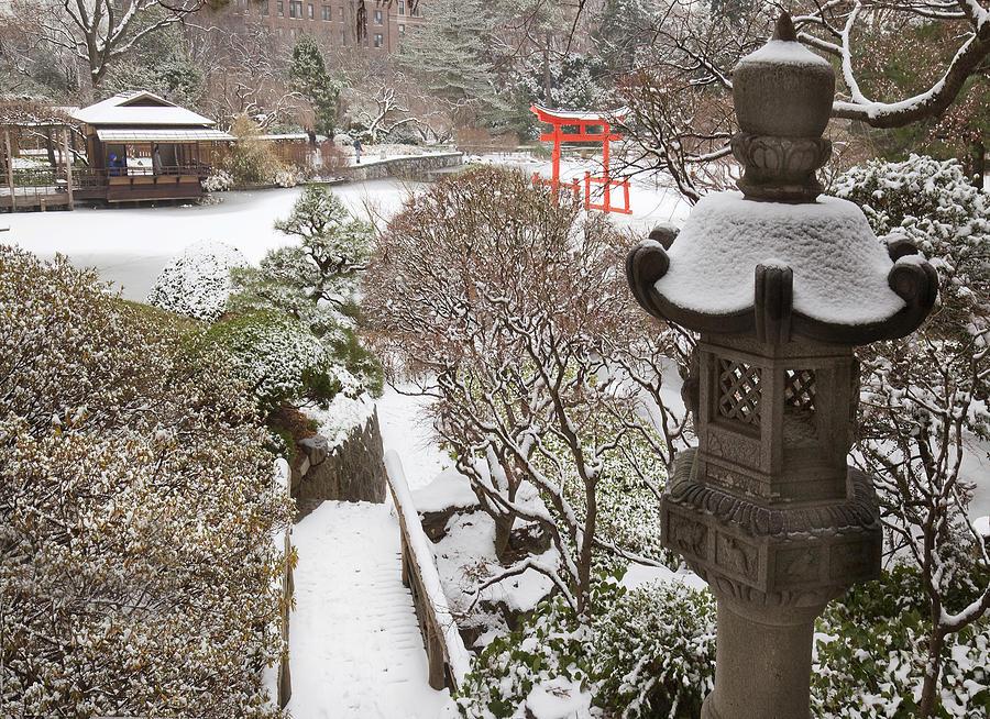 Japanese Garden In Winter At The Brooklyn Botanic Garden Photograph By Randy Duchaine