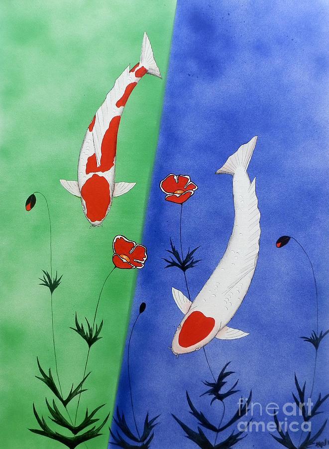 Japanese koi kohaku and tancho painting by gordon lavender for Japanese koi art prints