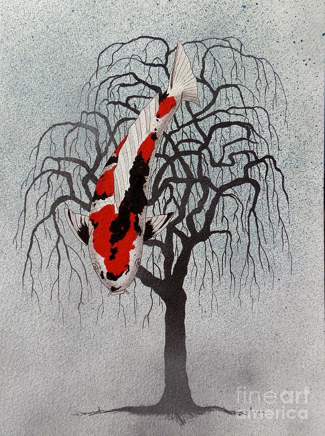 Japanese koi sanke pendula painting painting by gordon for Japanese koi art prints