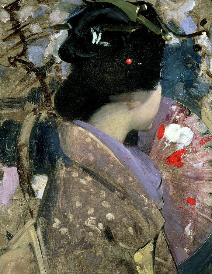 Portrait Painting - Japanese Lady With A Fan by George F Henry