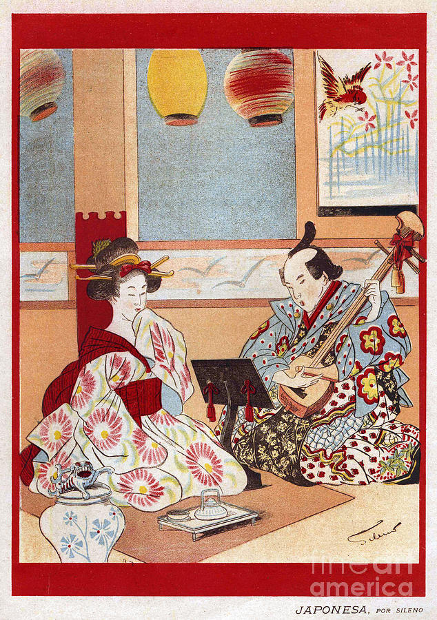 1890Õs Drawing - Japanese Music Scene 1898 1890s Japan by The Advertising Archives