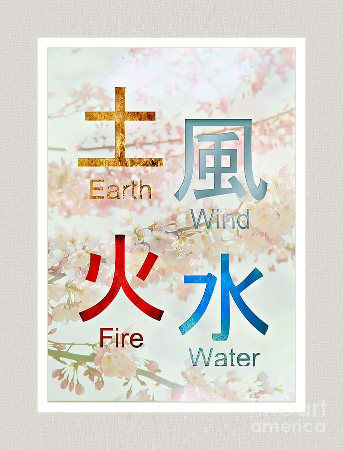 Japanese Symbols ..earth Wind Fire Water Digital Art