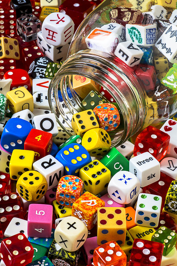 Jar Dice Games Play Numbers Gamble Photograph - Jar Of Colorful Dice by Garry Gay