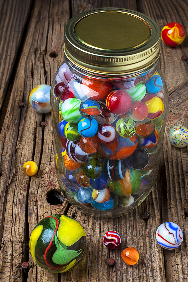 Jar Of Marbles With Shooter Photograph  - Jar Of Marbles With Shooter Fine Art Print