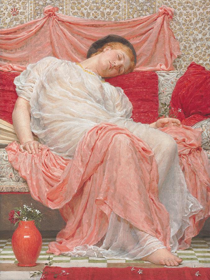 Female; Sleeping; Asleep; Resting; Pink; Drapery; Cushions; Vase; Flowers; Pre-raphaelite Painting - Jasmine by Albert Joesph Moore