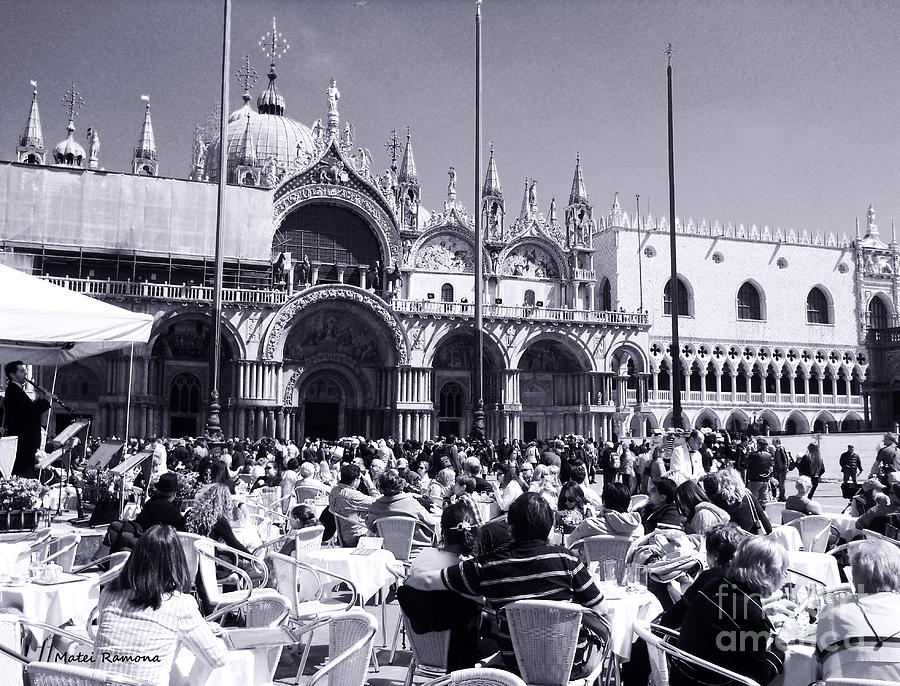 Venice Photograph - Jazz In Piazza San Marco Black And White  by Ramona Matei