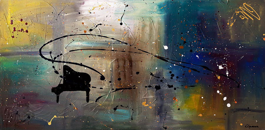 Music Abstract Art Painting - Jazz Night by Carmen Guedez