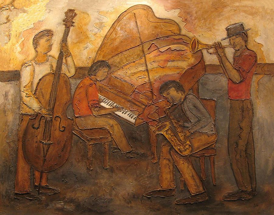 Impressionist Painting - Jazz Quartet by Anita Burgermeister