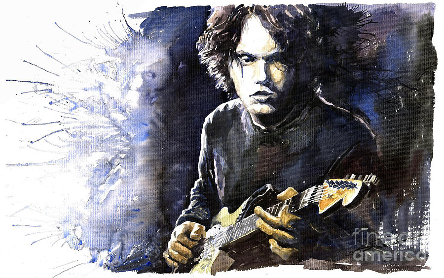 Jazz Rock John Mayer 03  Painting  - Jazz Rock John Mayer 03  Fine Art Print