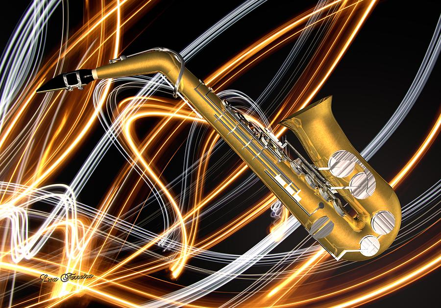 Jazz Saxaphone  Digital Art  - Jazz Saxaphone  Fine Art Print