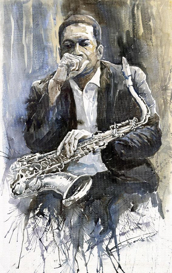 Jazz Saxophonist John Coltrane Yellow Painting