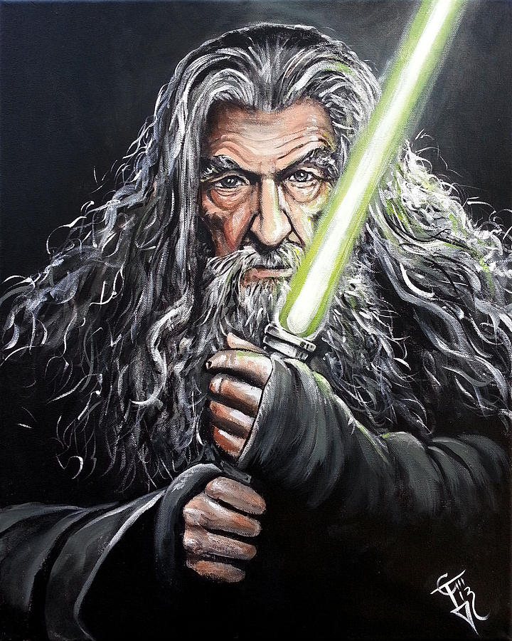 Jedi Master Gandalf Painting By Tom Carlton
