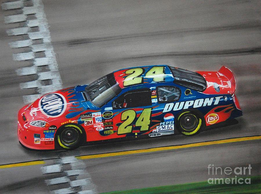 Win Drawing - Jeff Gordon Dupont Chevrolet by Paul Kuras