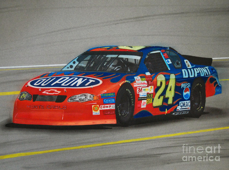 Jeff Gordon Hits Pit Road Mixed Media  - Jeff Gordon Hits Pit Road Fine Art Print