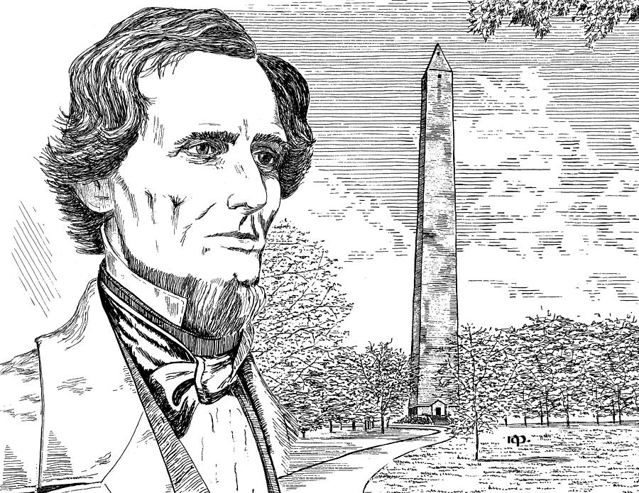 Jefferson Davis Monument Drawing  - Jefferson Davis Monument Fine Art Print