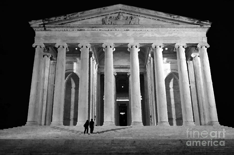 Jefferson Monument At Night Mixed Media