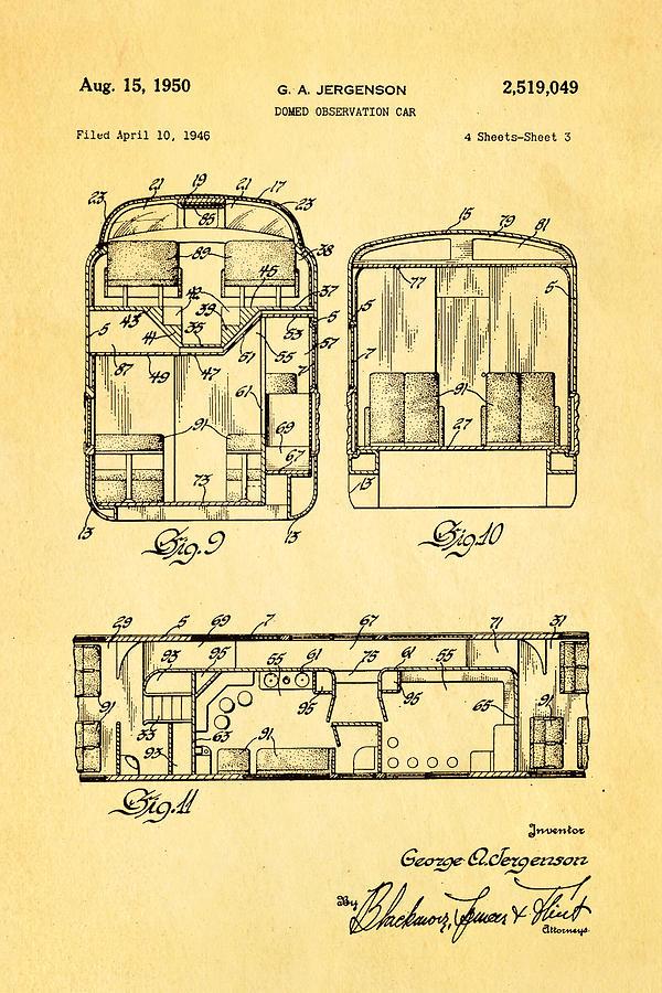 Jergenson Domed Observation Car Patent Art 1950 Photograph