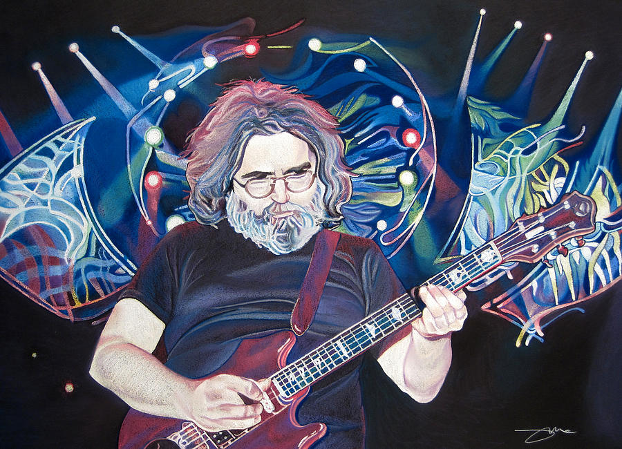 Jerry Garcia And Lights Drawing  - Jerry Garcia And Lights Fine Art Print