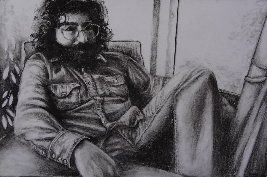 Jerry Garcia In 72   Drawing  - Jerry Garcia In 72   Fine Art Print