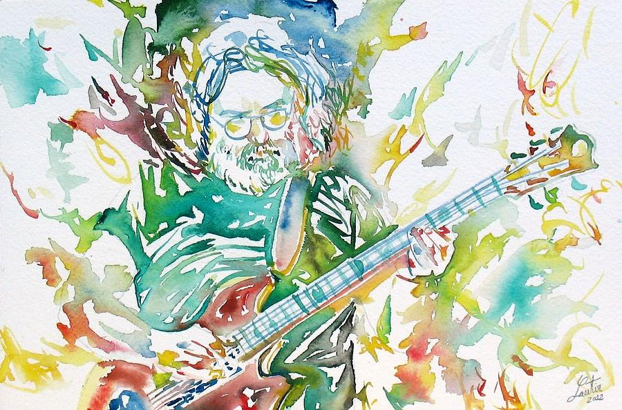 Jerry Garcia Playing The Guitar Watercolor Portrait.1 Painting  - Jerry Garcia Playing The Guitar Watercolor Portrait.1 Fine Art Print