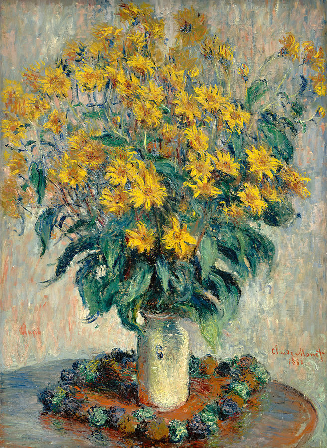 Still Life; Bouquet; Vase; Yellow; Impressionist; Impressionism Painting - Jerusalem Artichoke Flowers by Claude Monet