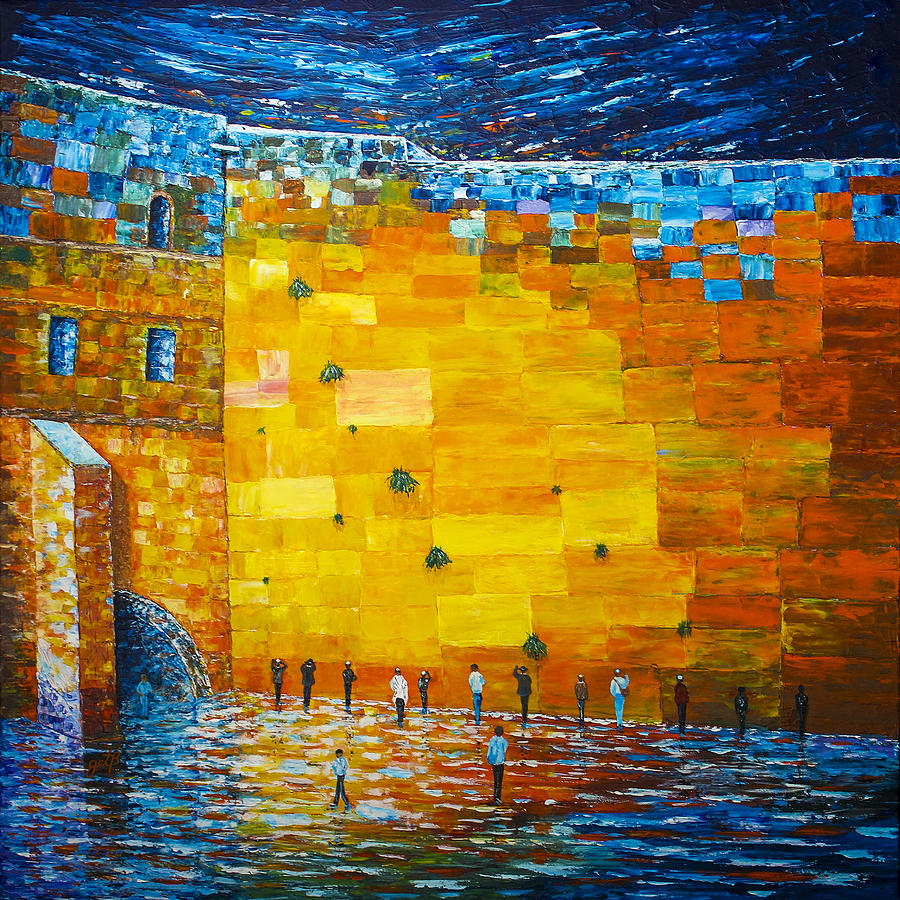 wailing wall original acrylic palette knife painting painting. Black Bedroom Furniture Sets. Home Design Ideas