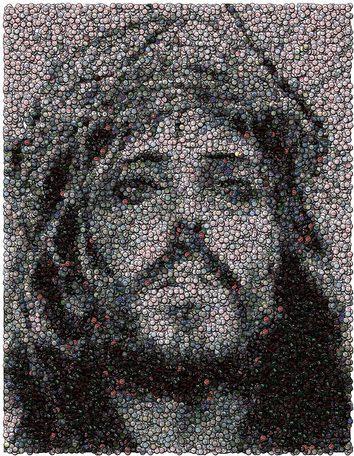 Jesus Bottle Cap Mosaic Photograph  - Jesus Bottle Cap Mosaic Fine Art Print
