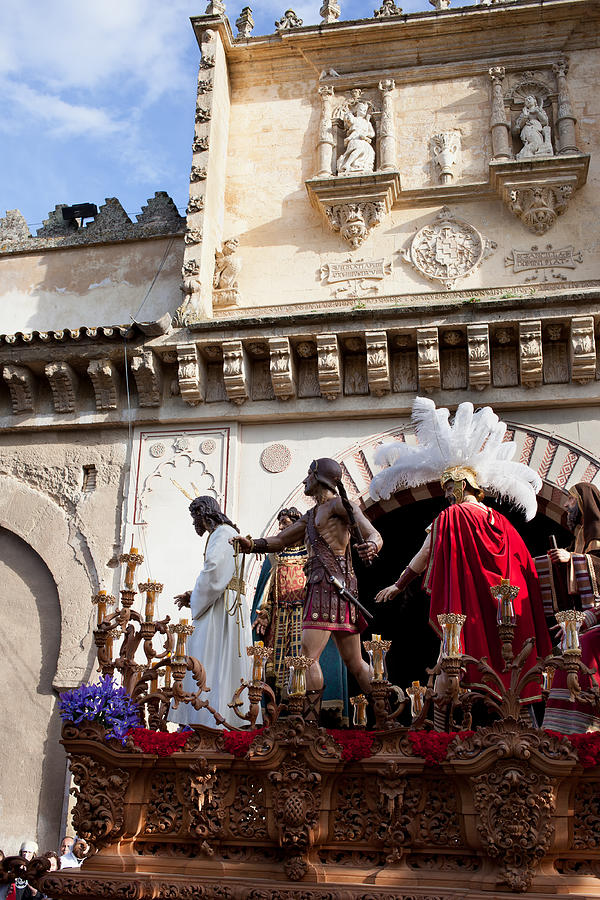 Jesus Christ And Roman Soldiers On Procession Platform Photograph  - Jesus Christ And Roman Soldiers On Procession Platform Fine Art Print