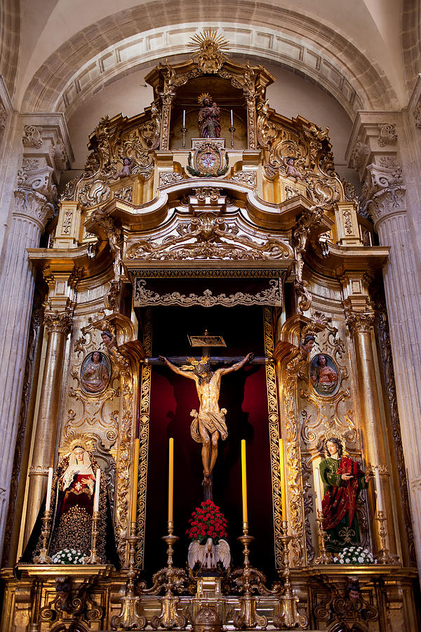 Seville Photograph - Jesus Christ On The Cross Reredos In Seville Cathedral by Artur Bogacki