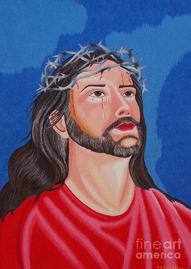 Jesus Hand Embroidery Tapestry - Textile