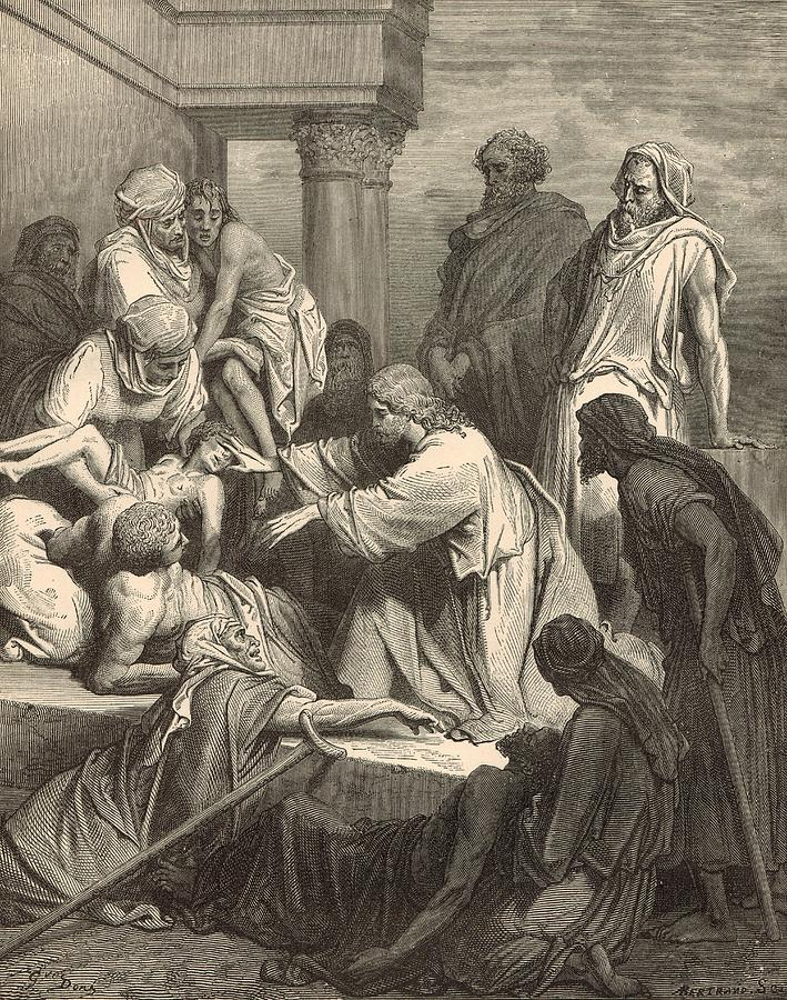 Jesus Healing The Sick Drawing  - Jesus Healing The Sick Fine Art Print