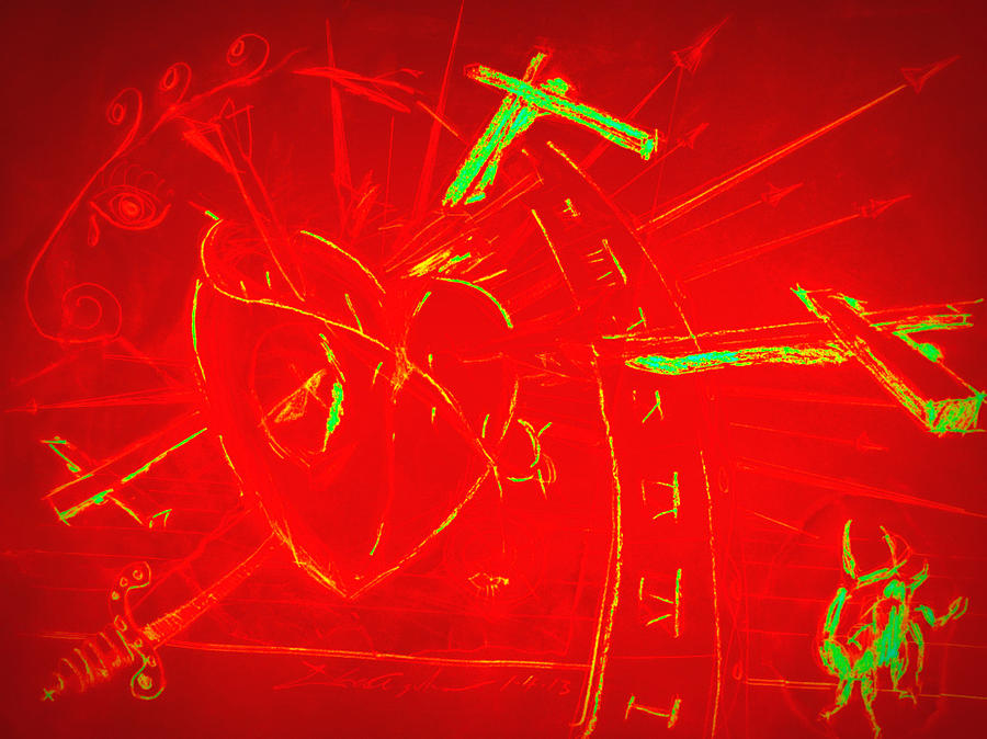 Jesus Heart Series - Flaming Heart Mixed Media