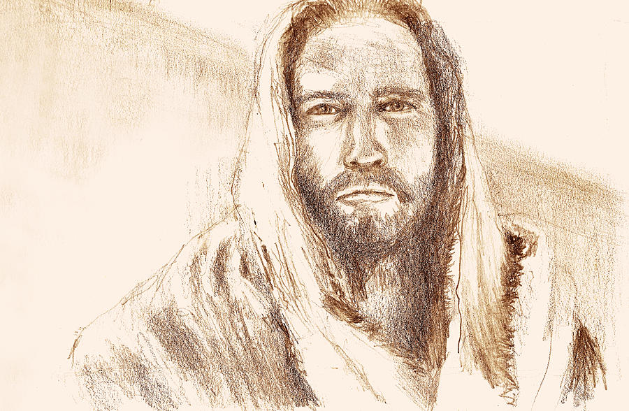Jesus Looking At Pharisees Drawing
