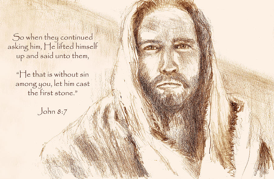 Jesus Looking At Pharisees With Verse Drawing