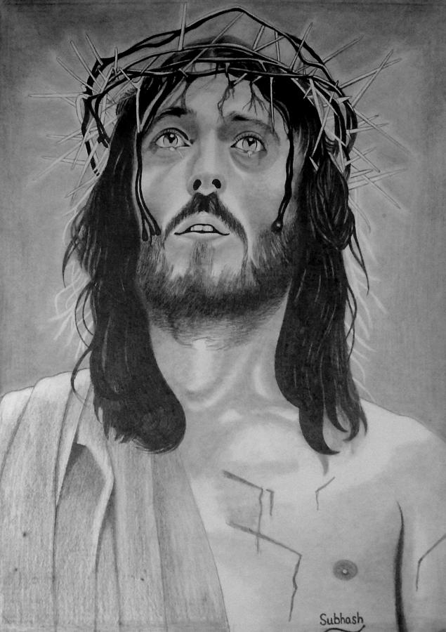 Jesus Of Nazareth Drawing - Jesus Of Nazareth by Subhash Mathew