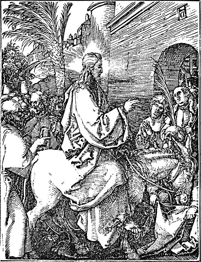 Jesus On The Donkey Palm Sunday Etching Drawing - Jesus On The Donkey Palm Sunday Etching by
