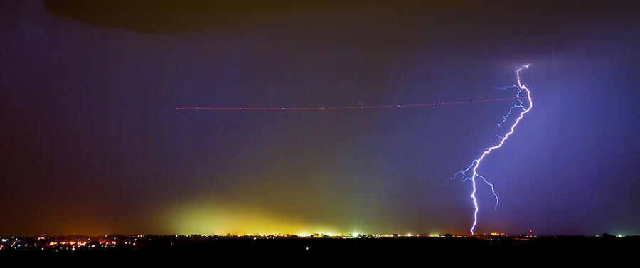 Jet Over Colorful City Lights And Lightning Strike Panorama Photograph