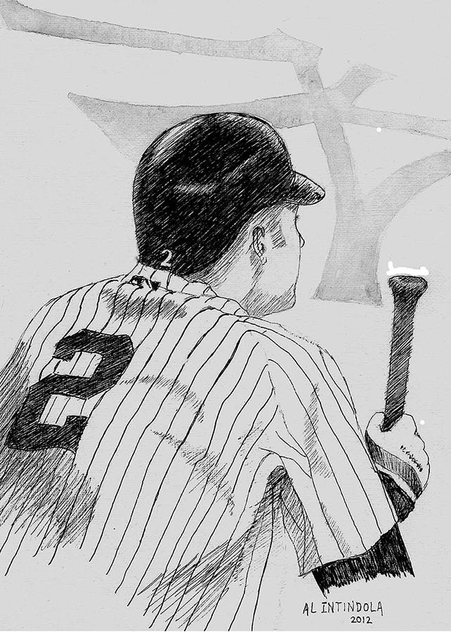 Jeter On Deck Drawing  - Jeter On Deck Fine Art Print