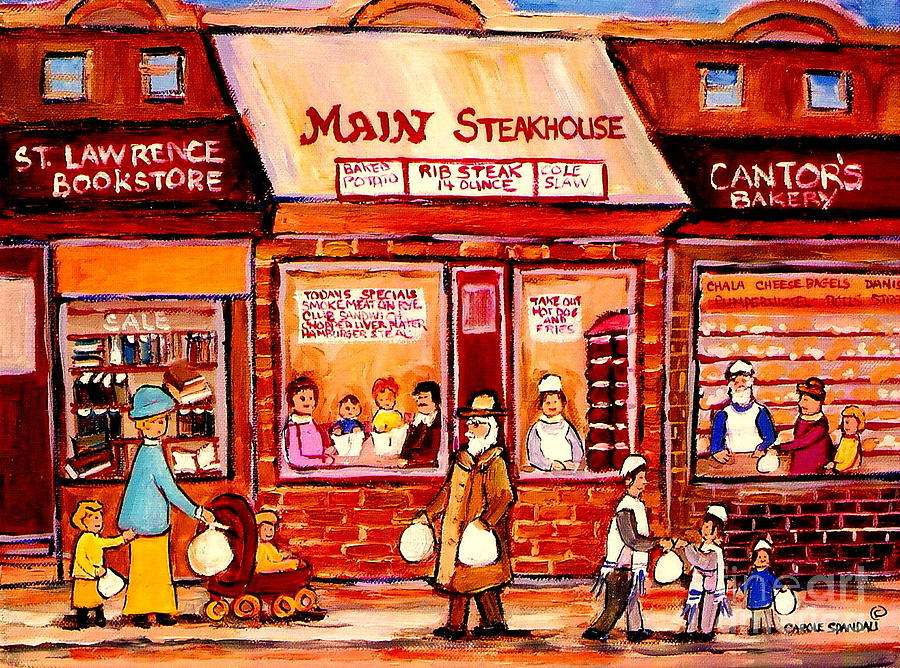 Jewish Montreal Art Painting - Jewish Montreal Vintage City Scenes Cantors Bakery by Carole Spandau