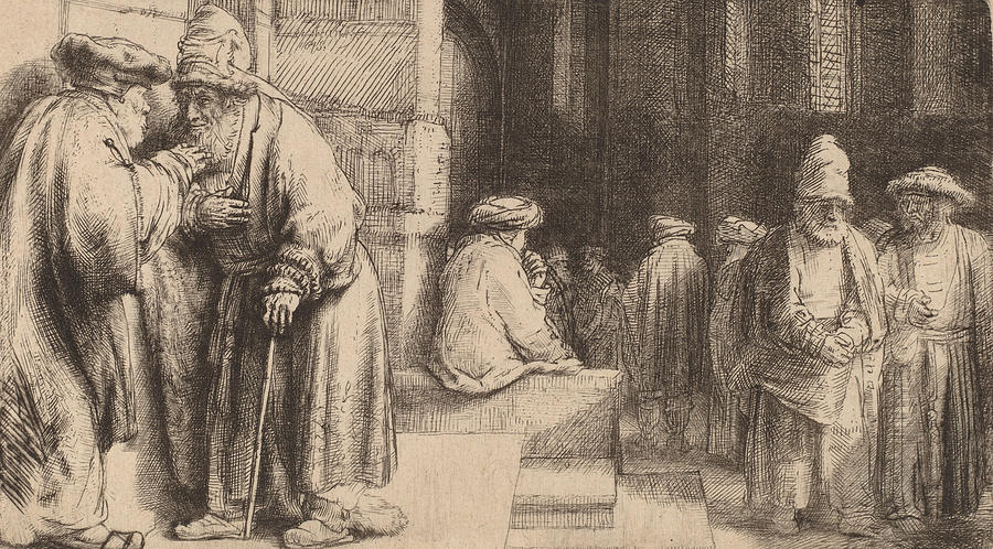 Rembrandt Drawing - Jews In The Synagogue by Rembrandt