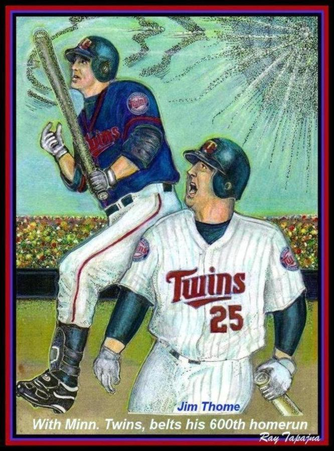 Jim Thome Hits 600th With Twins Mixed Media  - Jim Thome Hits 600th With Twins Fine Art Print